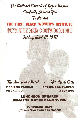 First Black Women's Institute 1972 Hunger Convocation program